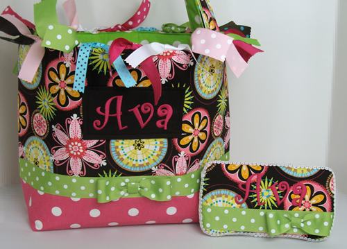 Carnival Bloom Diaper Bag 2pc Set-flowers, brown, pink, green, wipe case, diaper bag, boutique