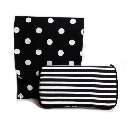 Black Polka Dots Travel Duo Diaper & Wipes Set-chic, black, white, wipes case, travel, stripes, polka dot