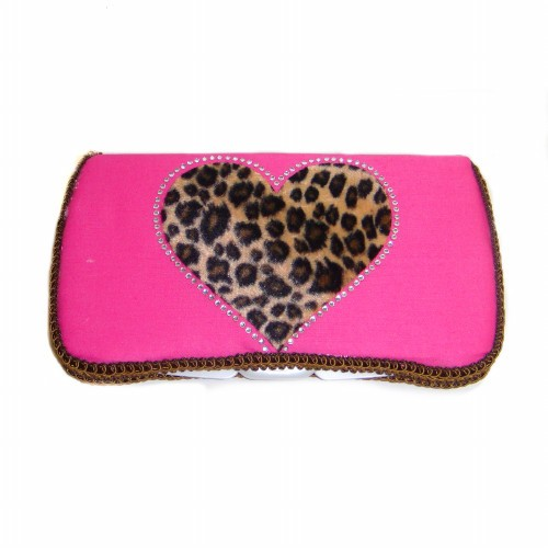 Wild Love Pink Heart Travel Wipes Case-leopard, cheetah, animal print, hot pink, wipey, case, wipe, holder