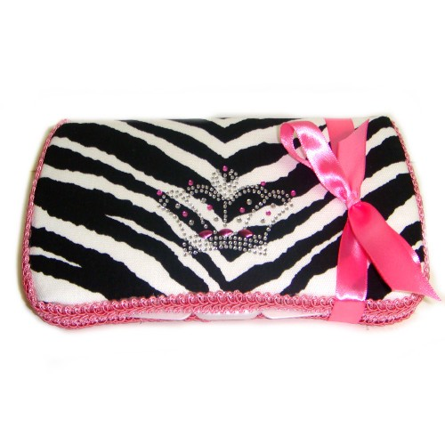 Zebra with Bling Crown Travel Wipes Case-hot pink, zebra, princess, crown, tiara, bling, animal print, wipe, wipey, case, holder