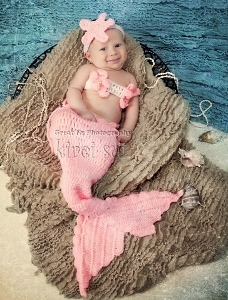 Baby Newborn Knit Crochet Light Pink Mermaid Outfit Set-Baby, Newborn, Knit, Crochet, Light Pink, Ariel, Mermaid, Photo Prop,  Costume, infant, girl, summer, pink