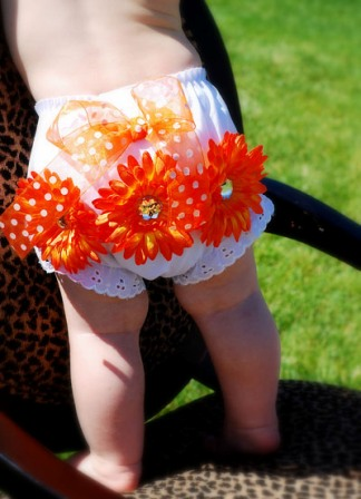 Orange Sunflowers Baby Diaper Cover Bloomers