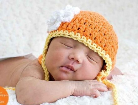 White Flower Candy Corn Crochet Hat