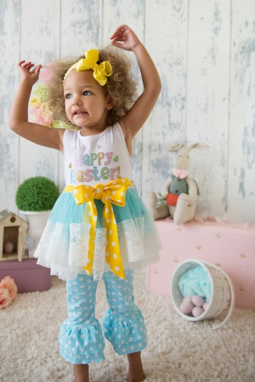 Happy Easter Rhinestone Blue & Yellow Polka Dot Ruffled Lace Pants Set-blue, yellow, easter, bling, rhinestone, outfit, set, easter outfit, easter clothing, toddler, girls