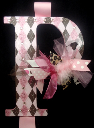 Pink Chocolate Argyle Hair Bow Holder