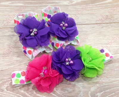 Colorful Neon Polka Dots Barefoot Sandals & Flower Headband Set-colorful, neon, polka dots, flower headband, flower sandals, shoes, baby gift, birthday party, summer, newborn, infant, baby girl, purple, lime green, hot pink, bright colors