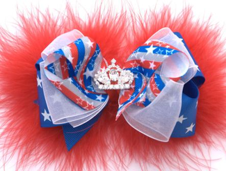 American Princess Diva Marabou Hair Bow Headband-red, white, blue, patriotic, july 4th