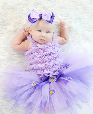 Lavender Daisy Little Baby Girl Fluffy Tutu Skirt