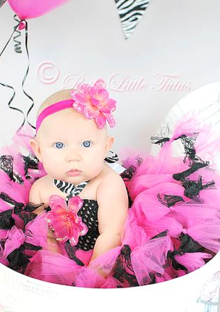 French Lace Couture Zebra Baby & Girls Crochet Tutu Dress