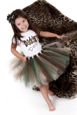 Daddy's Deer Camo Tutu-camoflauge, army, military, brown, green,