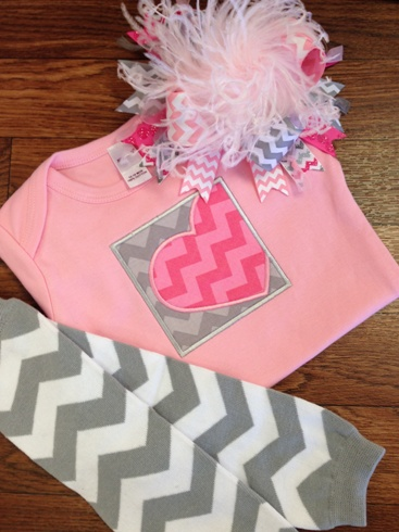 Pink & Grey Chevron Heart Shirt-pink, gray, grey, outfit, set, valentine, valentines, valentine's, day, love, heart