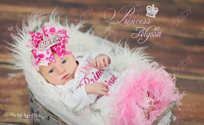 Daddy's Princess Has Arrived Bling Infant Feather Gown-crown, tiara, feathers, infant, newborn, take home, take me home, hospital, sac, sack, gown, layette, daddy, princess, tiara, crown, father's day, fathers, day, newborn, pink, white, baby, girl