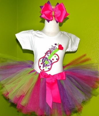 Pink Lime Purple Guitar Birthday Tutu Outfit-colorful, rock, guitar, party, black, pink, turquoise