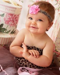 Leopard Pink Mini Rose Flowerband-