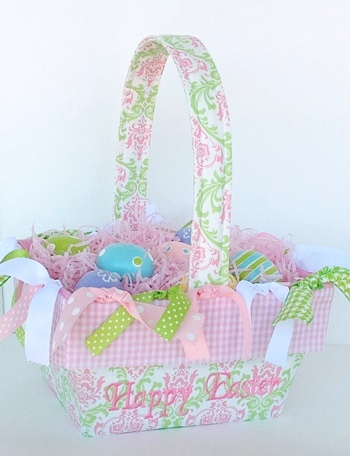 Pink green lacework personalized boutique easter basket negle Images