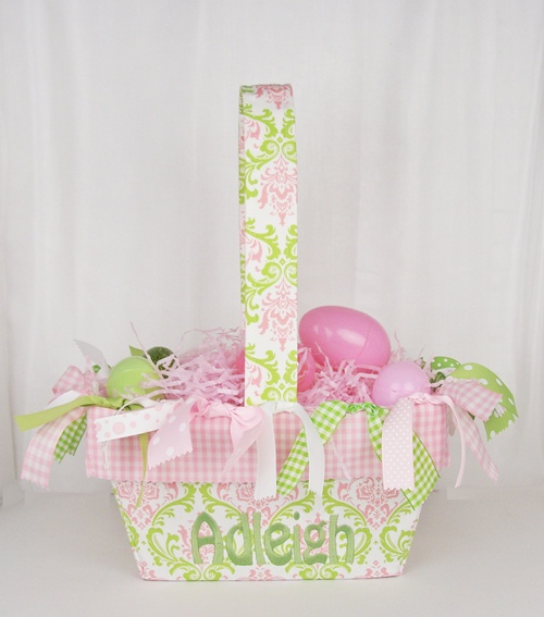 Pink green lacework personalized boutique easter basket negle Image collections