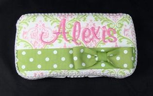 Pink Green Lacework Wipe Case-pastel, pink and green, baby, girl, infant, wipes, case, wipey