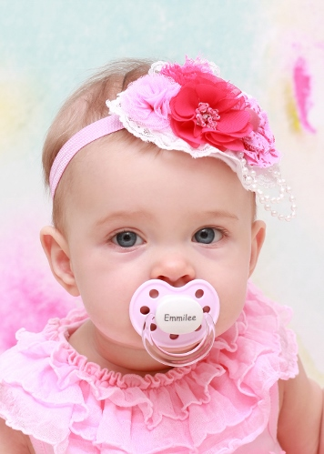 Baby Pink Personalized Orthodontic Pacifier-personalized, pacifier, paci, monogram, monogrammed, custom, light, pink, infant, baby, girl, newborn