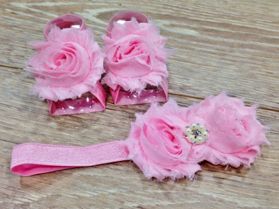 Pink Barefoot Sandals & Flower Headband Set-pink flower sandals, pink flower headband, baby shower gift, baby gift set, newborn baby shoes, newborn baby headband, sandals, headband, flower, infant, baby, girls