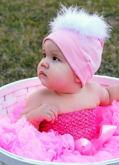 Tickled Sweet in Pink Baby Cotton Marabou Feathers Hat-pink feather white hat