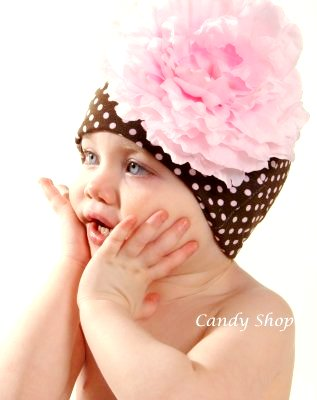 Brown & Pink Polka Dot Flower Hat-