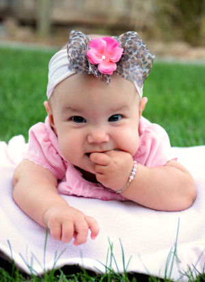 Little Baby Leopard Glam Nylon Hair Bow Headband