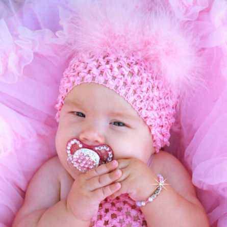 Pretty In Pink Pink Marabou Baby Crochet Hat