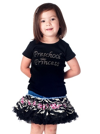 Preschool Princess Girls Rhinestone Tee Shirt