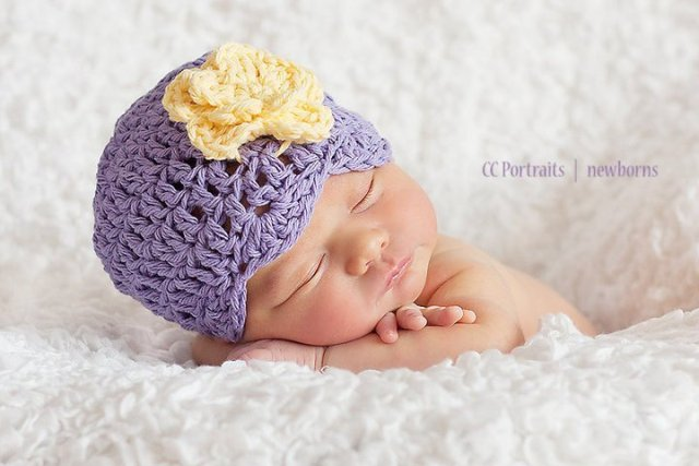 Purple & Yellow Flower Beanie-lavender, purple, yellow, infant, baby, newborn crochet, boutique flower hat