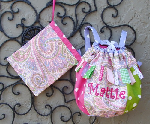 Mattie Purple Pink Paisley Backpack Dance Bag-pastel, dance bag, green, pink