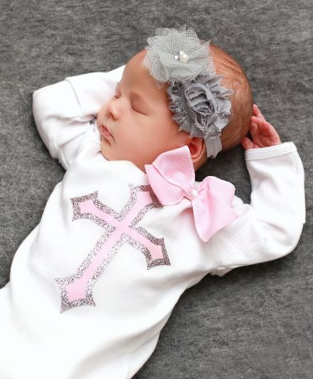 Pink & Silver Sparkle Christening Layette Infant Gown-infant, baby, girl, newborn, couture, christening, baptism, dedication, christian, cross, gray, grey, take home gown, hospital gown, boutique clothing
