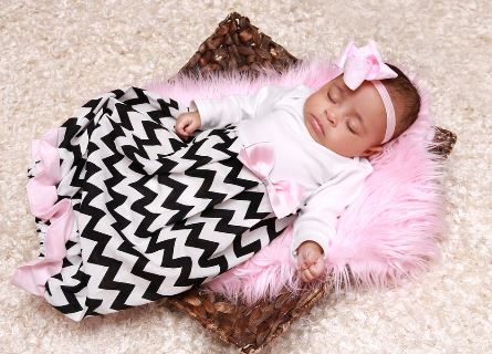 Chevron Light Pink & Black Infant Newborn Layette Gown-layette, newborn, infant, baby, girl, boutique hospital gown, take home gown, take me home, boutique, clothing, ruffle, chevron, black, light pink