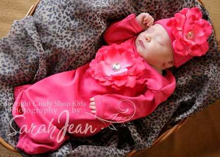 Raspberry Fuchsia Flower Take Home Gown & Hat Set