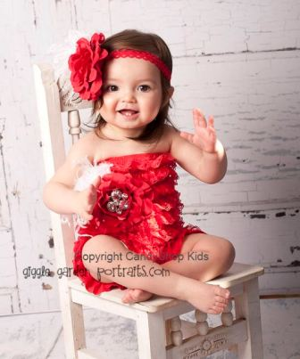 Red Rhinestone Flower Lace Romper