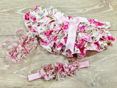 Pink Ruffle Rose Bloomer, Sandals & Flower Headband Set-floral print, ruffle bloomers, diaper cover, bloomer, newborn gift set, spring, baby girl diaper cover, baby shower gift, infant, baby girls, pink