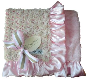 Pink Rose Poodle Baby Blanket-light pink, light, pink, baby pink, blanket, baby blanket