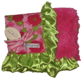 Secret Garden Baby Blanket-hot pink, lime, flowers