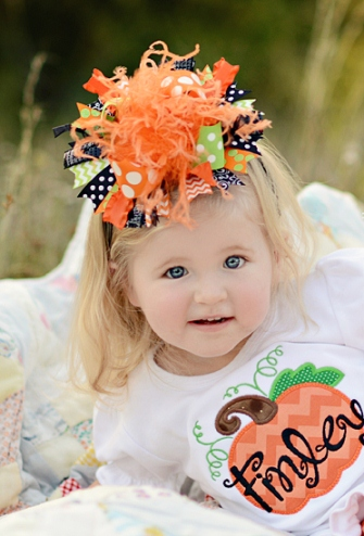 Funky Fun Halloween Over the Top Hair Bow Headband-green, orange, black, halloween, hairbow