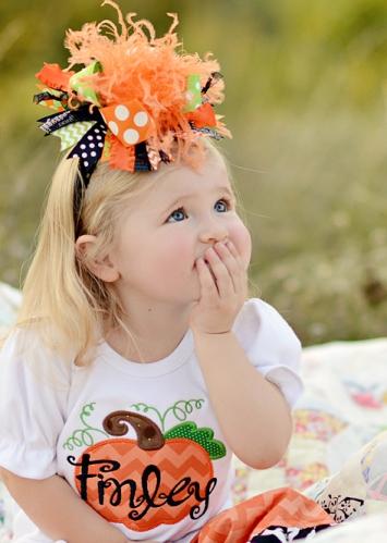Funky Fun Halloween Over the Top Hair Bow Headband-green, orange, black, halloween, hairbow