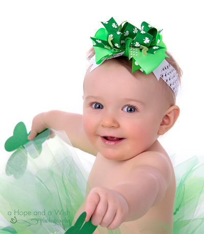 Shamrock Cutie St. Paddy's Day Glamour Baby Headband-green, shamrocks, saint, patricks, Patrick, day, st., patty, pattys, green and white, lucky