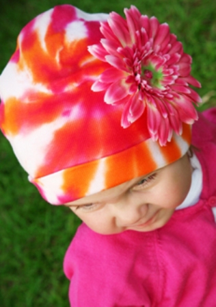 Orange & Pink Tie-Dye Daisy Flower Hat-