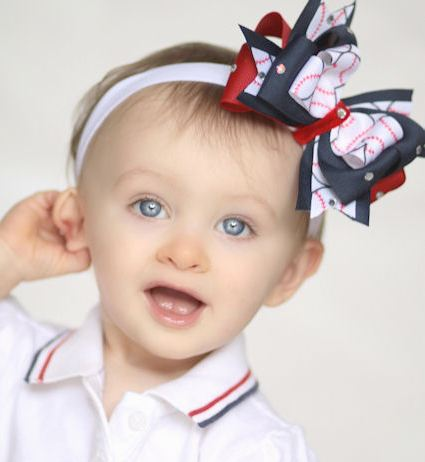 Americas Darling Baseball Glitz Theme Bow Headband-hair bow, hairbow, infant, baby girl, boutique, headband, sports