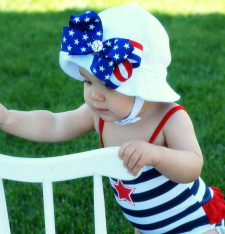 All American Princess 4th of July Baby Sun Hat-summer, infant, baby girl, patriotic, bow, sunhat