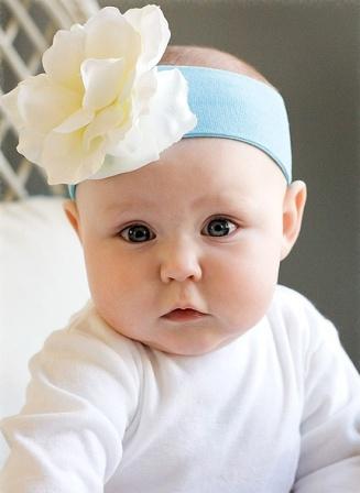 Blue & White Rose Flower Headband-baby blue, light blue