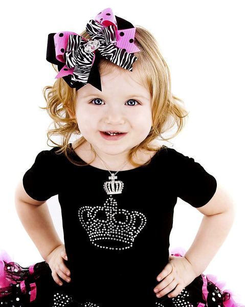 Haute Princess Pink & Black Polka Dots Crown Hair Bow Headband-hot pink, black, zebra print, infant, baby girl, boutique hairbow, headband, princess, tiara