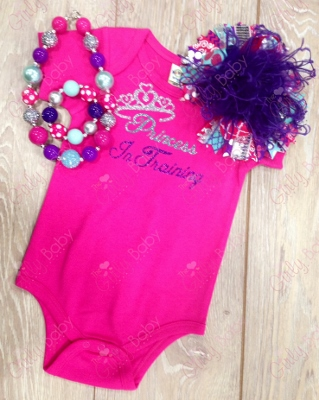 Hot Pink Princess In Training Glitter Onesie-princess, crown, tiara, queen, onesie, tee, shirt, training, glitter, print, saying, infant, baby, girl, newborn, big girl, outfit, set, jewelry, boutique, over the top bow
