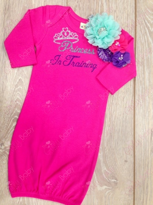 Hot Pink Princess In Training Glitter Newborn Gown-hot, shocking, pink, purple, silver, take home gown, hospital gown, boutique gown, princess, crown, tiara, aqua, hairbow, flower headband, boutique gown, newborn, infant, baby girl
