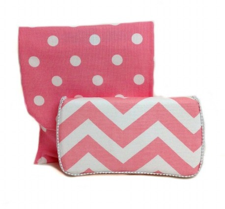 Chevron Blush Travel Duo Diaper & Wipes Set-pink, chevron, travel, gift, set, wipes case, diaper, polka dot, white