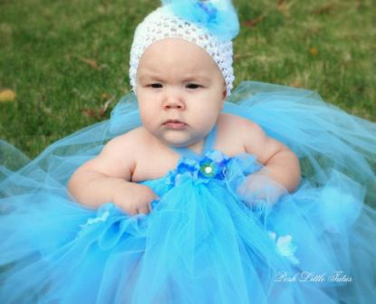 Blushing Blue Flowers Tutu Halter Dress