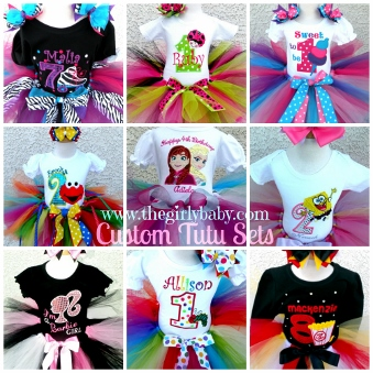 Custom Personalized Monogram Birthday Tutu Set-custom, first, 1st, birthday, tutu, outfit, set, party, personalized, embroidery, embroidered, monogrammed, skate party, movie popcorn, popcorn, sponge bob, spongebob, else, ana, frozen, snow, queen, ladybug, rooler skate, ice cream, caterpillar, elmo, barbie